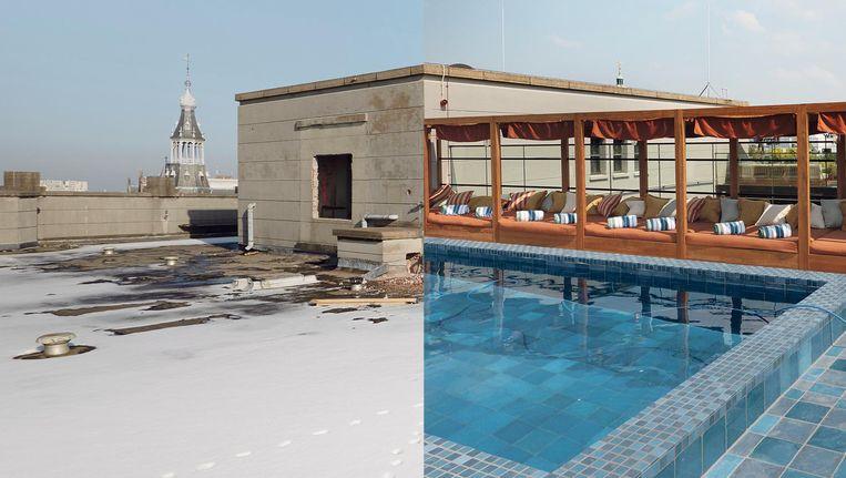 Fotograaf Herman van Heusden volgde een jaar lang de verbouwing van het Soho House. Dit is het dak. Beeld Herman van Heusden