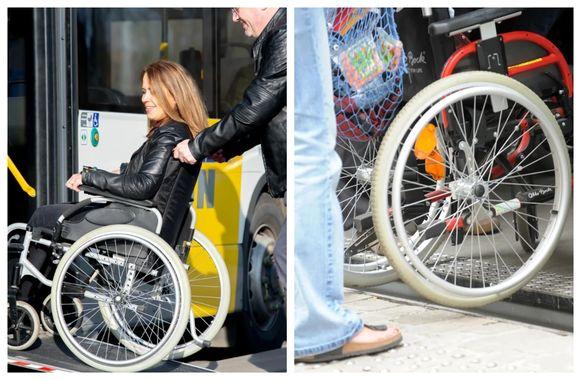 Foto links: een lijnbus met een oprijplaat. Foto rechts: een rolstoeltoegankelijke halte
