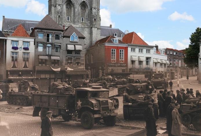 Canadese troepen op de Grote Markt.Fotograaf Albert Joosen laat toen en nu in elkaar overvloeien op deze archieffoto.