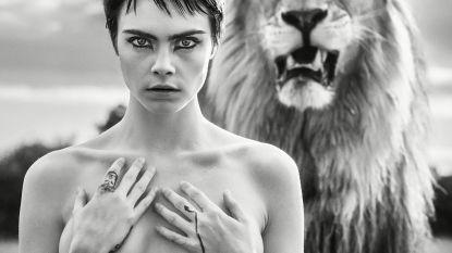 Topless poseren voor een leeuw, je moet het maar durven