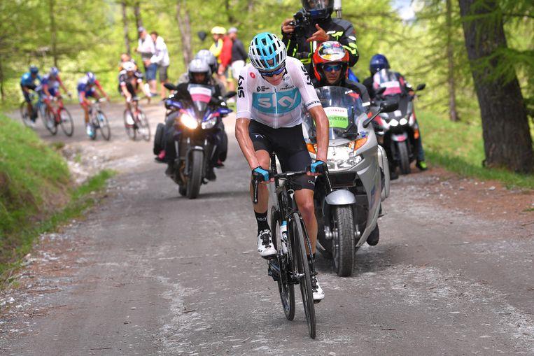Christopher Froome tijdens de Ronde van Italië 2018 (19e etappe). Beeld Getty Images
