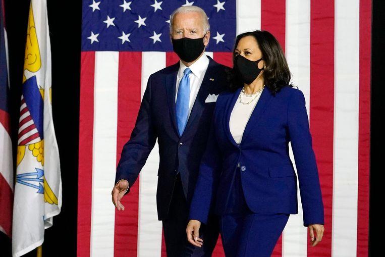 Joe Biden en running mate Kamala Harris. Beeld AP