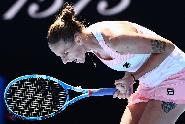 Karolina Pliskova heeft een punt gescoord tegen Serena Williams.    Beeld AFP