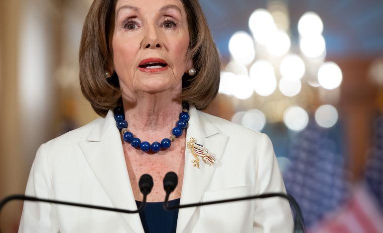 De Democratische voorzitter van het Huis van Afgevaardigden, Nancy Pelosi, donderdag. Beeld AFP