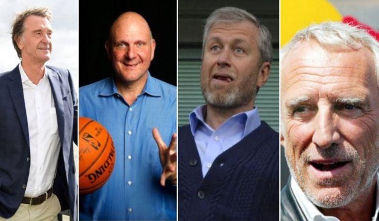 Van l naar r: Ratcliffe, Ballmer, Abramovich en Mateschitz.
