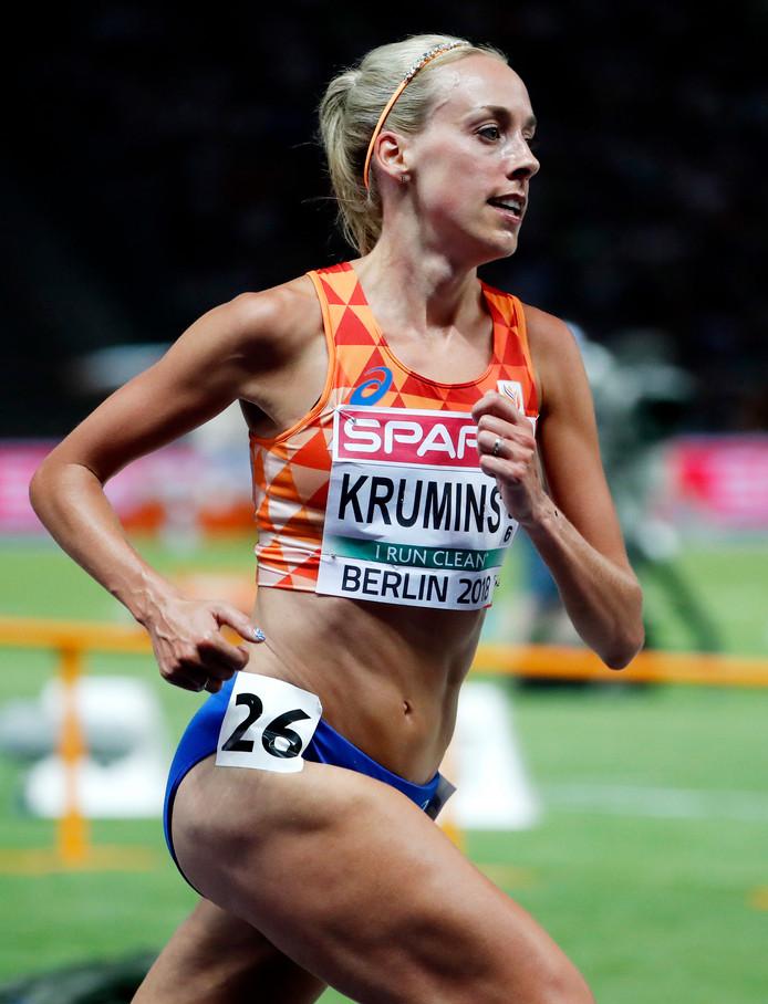 Susan Krumins in actie tijdens de 10 kilometer op de EK atletiek in Berlijn.