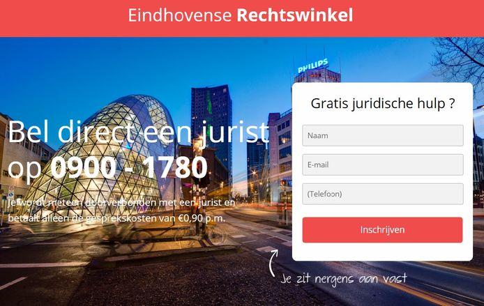 De website van de Eindhovense Rechtswinkel van het bedrijf Pretoga, 'concurrent' van Rechtswinkel Eindhoven, eveneens voorzien van een foto van de Blob.