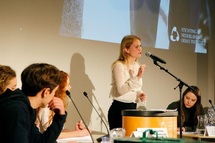 Leerlingen in debat tijdens het NK Debatteren.