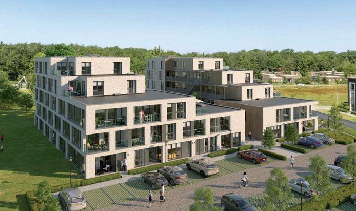 Het nieuwe appartementengebouw krijgt een fraaie omgeving. Dat is maar goed ook: in de verkoopbrochure is belangstellenden het gevoel beloofd op een landgoed te wonen.