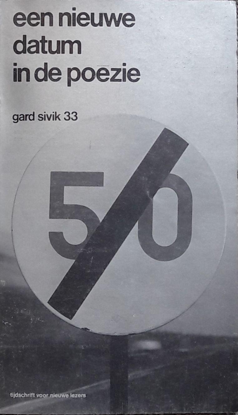 Omslag van het tijdschrift Gard Sivik (nr 33, 1964), dat afrekende met de poëzie van de Vijftigers. Ontwerp Leendert Stofbergen. Beeld