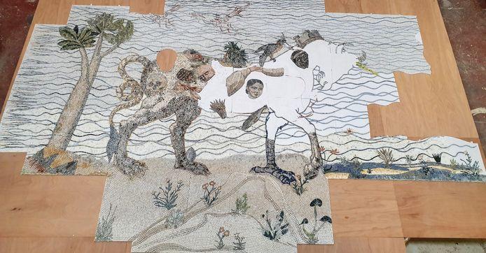 Het nieuwe mozaïekkunstwerk naar het ontwerp van Marie Zolamian.