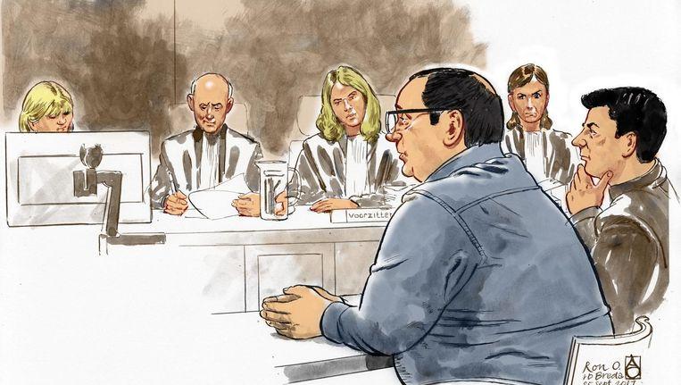 Rechtbanktekening van Ron O. tijdens een zitting in de rechtbank van Breda. Beeld anp