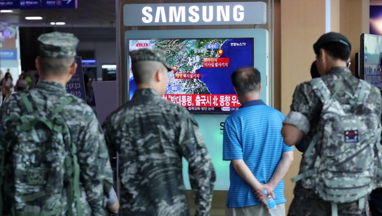 Berichtgeving op de Zuid-Koreaanse televisie over de aardschok in Noord-Korea. Beeld ap