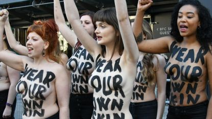 Topless protest tegen leer, wol en bont op London Fashion Week