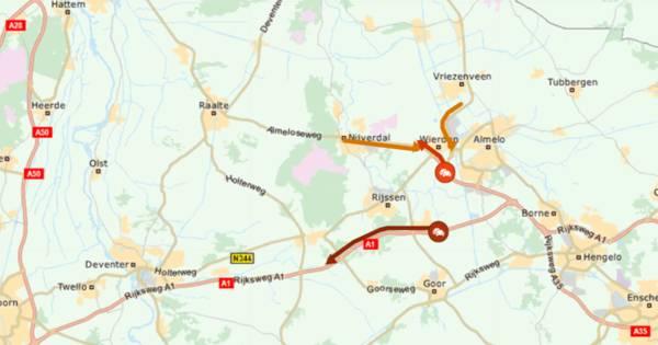 Ongeluk op A1 zorgt voor file tussen Rijssen en Deventer.