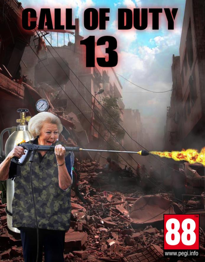 Beatrix op de hoes van het spel Call of Duty.