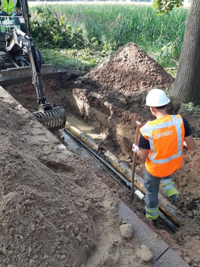 Herstel van de gasleiding bij Bruchem neemt waarschijnlijk het hele weekend in beslag