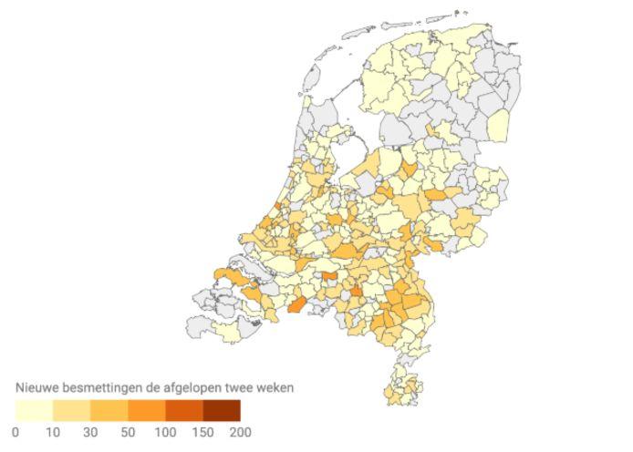 Het aantal nieuwe coronabesmettingen in Nederland in de afgelopen twee weken.
