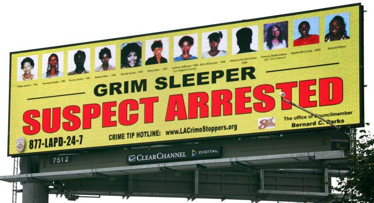Eeen billboard uit 2010, waarop de tien slachtoffers van de Grim Sleeper te zien zijn.