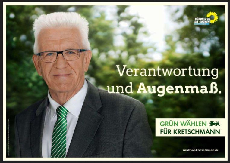 Lijsttrekker Kretschmann, premier van Baden-Württemberg (Groenen): 'Verantwoordelijkheid en inzicht.' Beeld