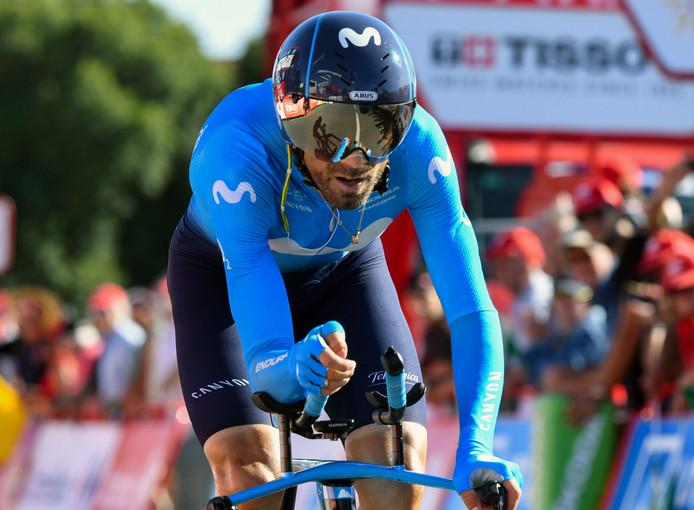 Alejandro Valverde tijdens de tijdrit.