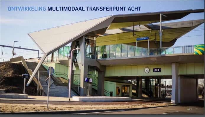 Zo zou het station Eindhoven Acht/Eindhoven Airport eruit kúnnen komen te zien. Het voorbeeld dat gebruikt is voor de illustratie is het station Goffert in Nijmegen.