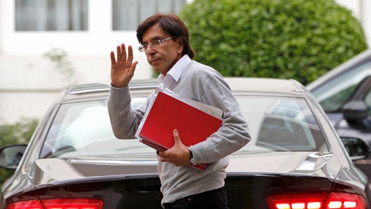 Elio di Rupo gisteren in Brussel, vlak voor het overleg 'van de laatste kans'. Beeld REUTERS