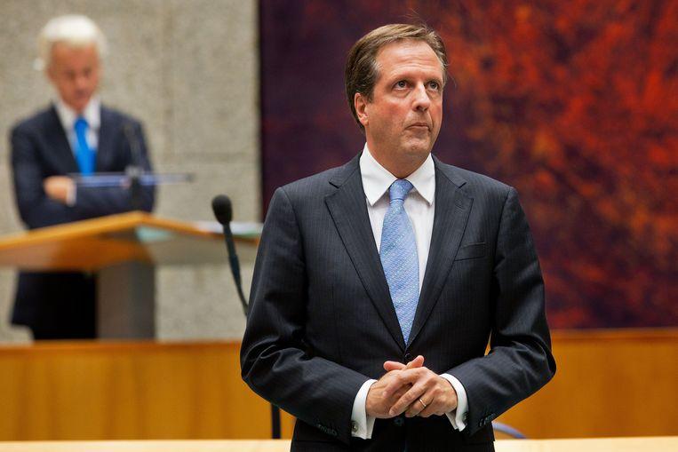 D66-leider Alexander Pechtold met op de achtergrond PVV-fractievoorzitter Geert Wilders. Beeld anp