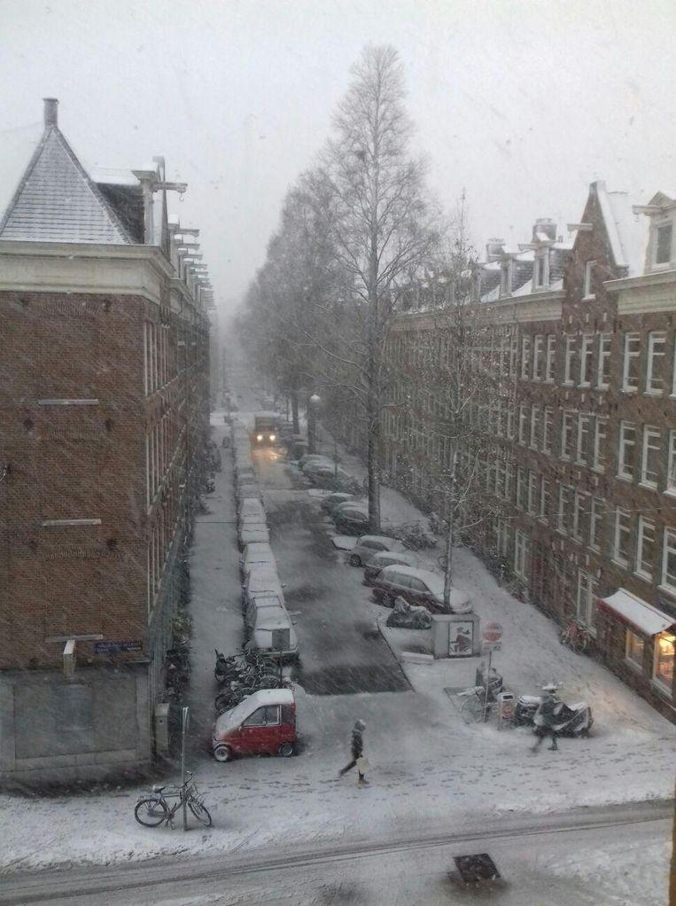 De Van Houweningenstraat in de sneeuwjacht Beeld -