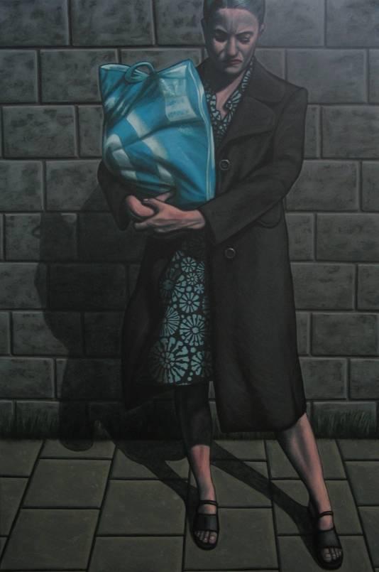 Portret van een vrouw met een boodschappentas getiteld Albert Heijn, van kunstenaar Erik Suidman.