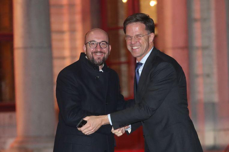 Premier Charles Michel ontvangt de Nederlandse premier Mark Rutte op Hertoginnedal.
