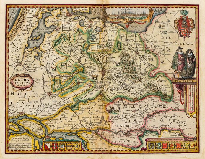 Petrus Kaerius, Kaart van de provincie Utrecht met een deel van de aangrenzende provincies, 1616.
