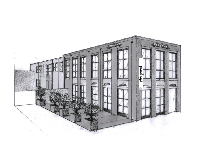 Zo gaat het nieuwe grand café De Vijfhoeck eruit zien. De korte zijgevel ligt aan de Kamstraat.