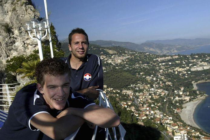 Hans Denisen en Arjan Swinkels (voorgrond) in Monaco, waar Willem II toen Europees voetbal speelde.