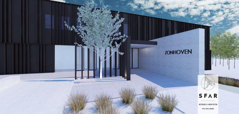 Een simulatiebeeld van het nieuwe gemeentehuis.