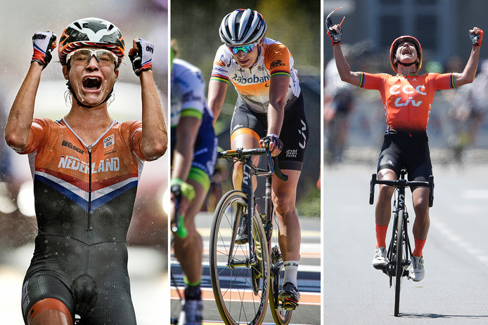 Marianne Vos in drie periodes, vlnr in 2012 als olympische kampioen, in een mindere fase in 2016 in de Waalse Pijl en in juli van dit jaar als winnares van La Course.