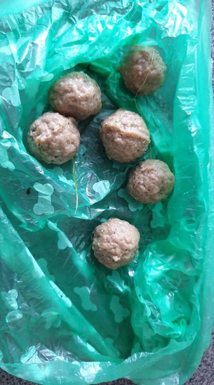 De verdachte gehaktballen die in de buurt van het Rivierenhof gevonden werden.
