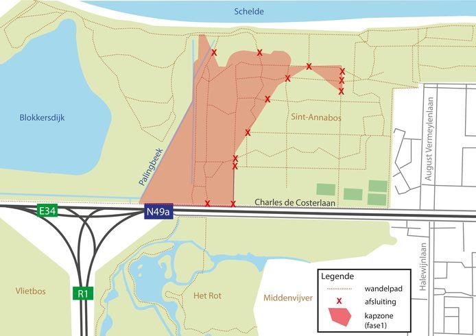 De kapzone in de eerste fase omvat de werfzone waar de nieuwe tunnel wordt gerealiseerd.