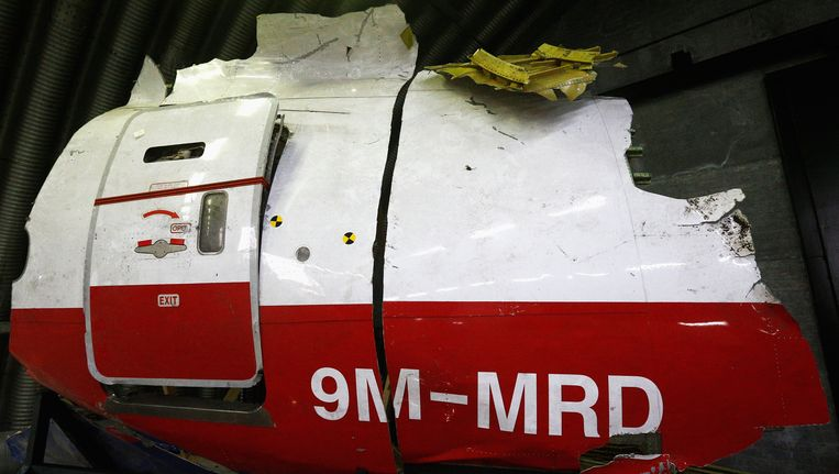Een wrakstuk van vlucht MH17. Beeld null