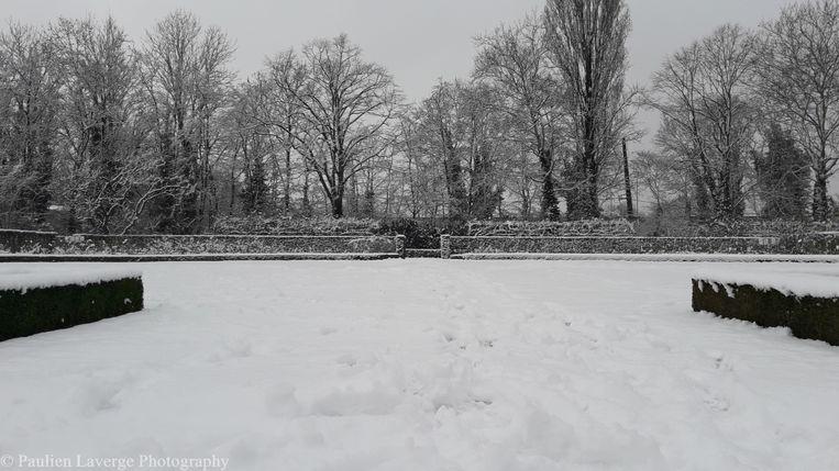 Een blik op de ondergesneeuwde Rozentuin.