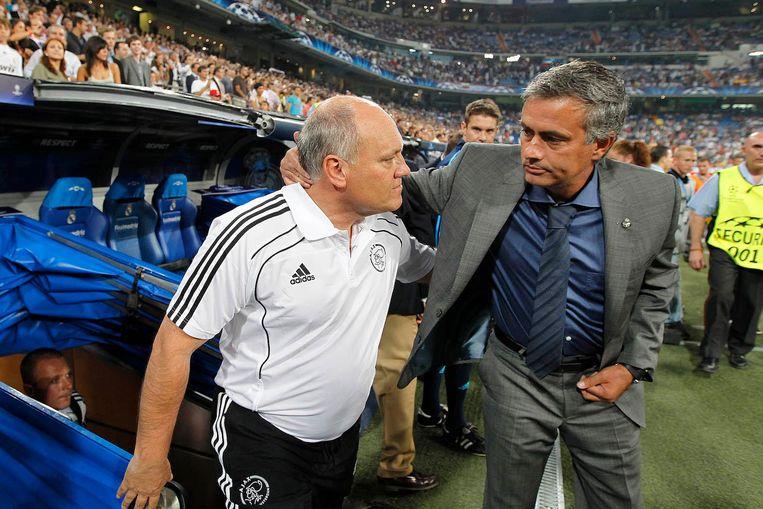 Jol in 2010 met toenmalig Real Madrid-trainer Jose Mourinho Beeld Pro Shots