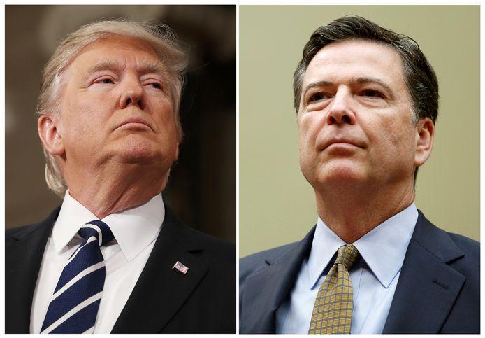 President Donald Trump (L) en de voormalige FBI-directeur James Comey.