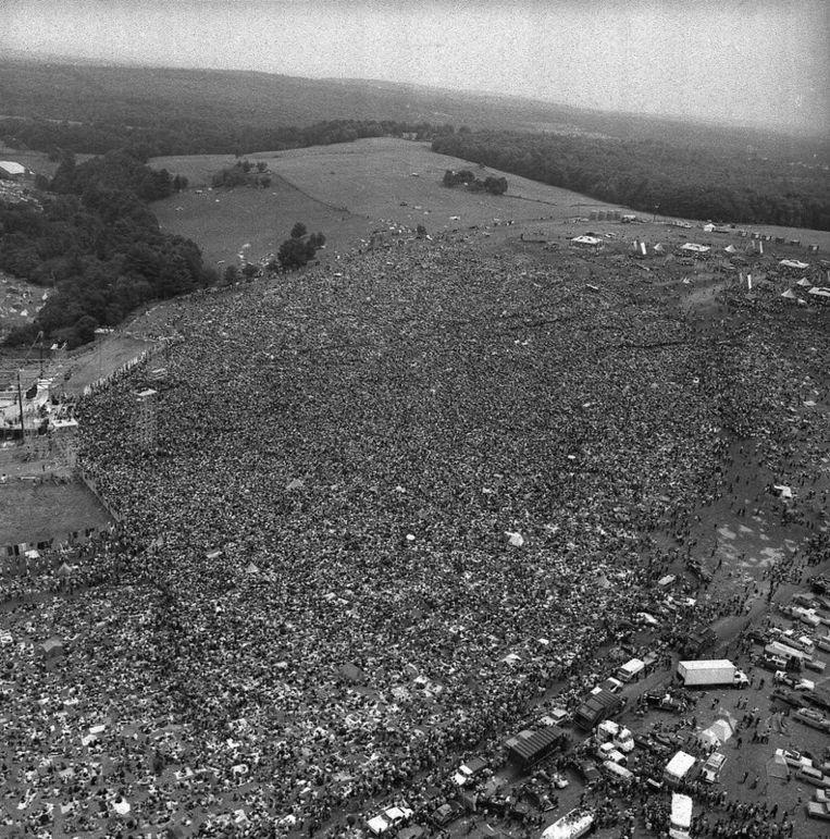 500.000 mensen kwamen uiteindelijk naar de moeder der popfestivals. Foto AP Beeld