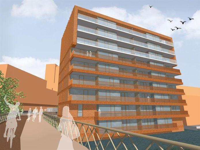 Impressie van het appartementencomplex C3, dat vlakbij de brug komt te staan. Aannemer Huybregts-Relou start begin november met de bouw van deze 33 appartementen.
