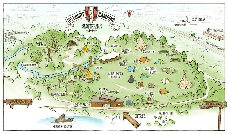 Kaart van de camping in het Sloterpark Beeld Buurtcamping