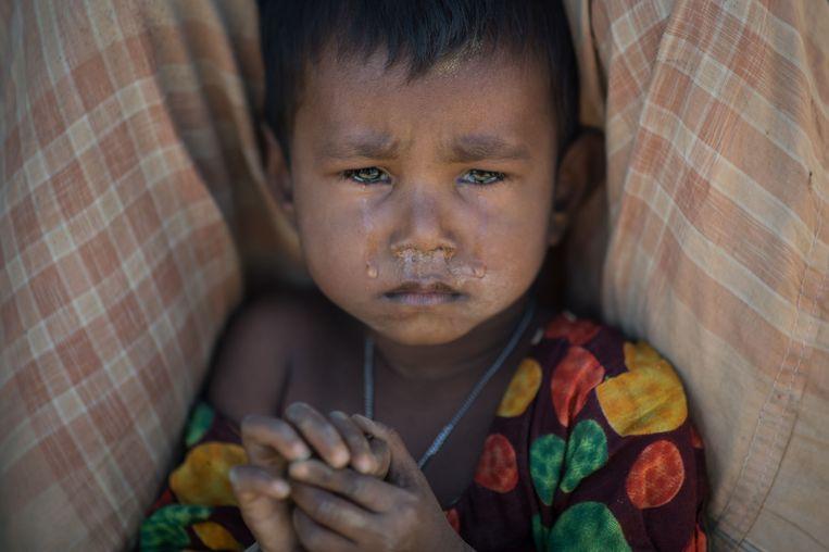 Een vluchtelingenkind in het kamp Kutupalong. Beeld afp