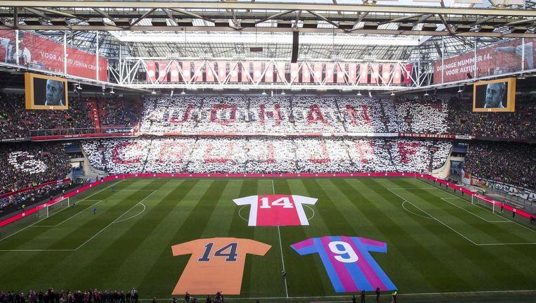 De belangrijkste shirts voor Johan Cruijff: Ajax, Oranje en FC Barcelona. Beeld anp