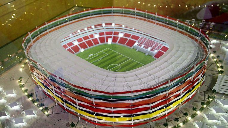 Model van het Al-Gharafa stadion in Doha. Beeld anp