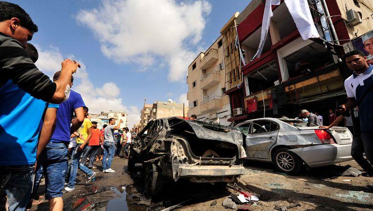 De plek van de aanslag in Benghazi. Beeld REUTERS