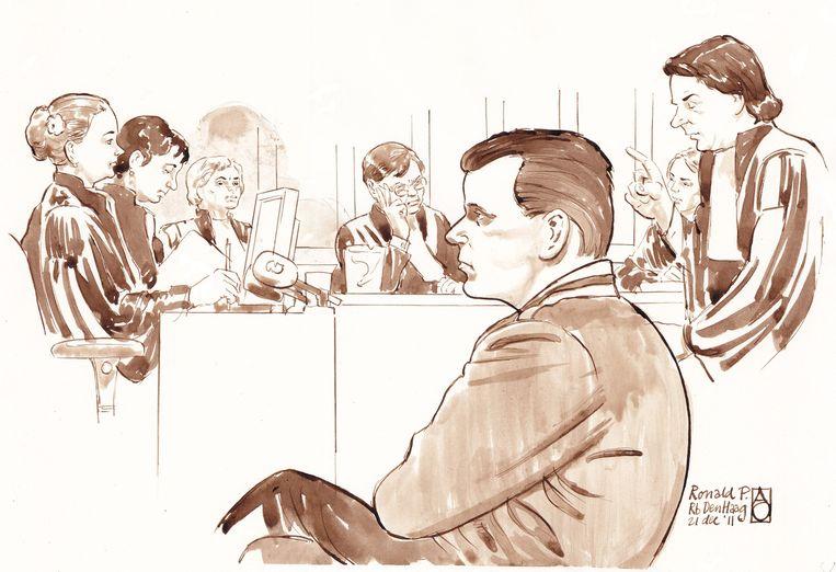 Ron P. in de rechtbank in Den Haag. Beeld anp